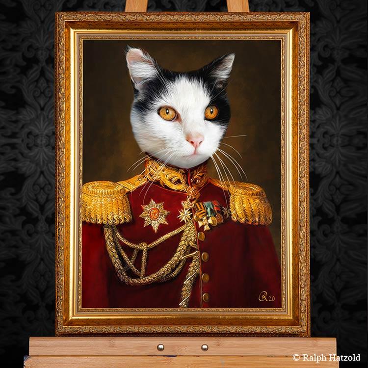 Katzenportrait General Minki, Katze in roter Uniform, Katzen in Kleidung, Barockrahmen, Geschenk für Katzenfreunde, Katze Gemälde Stil