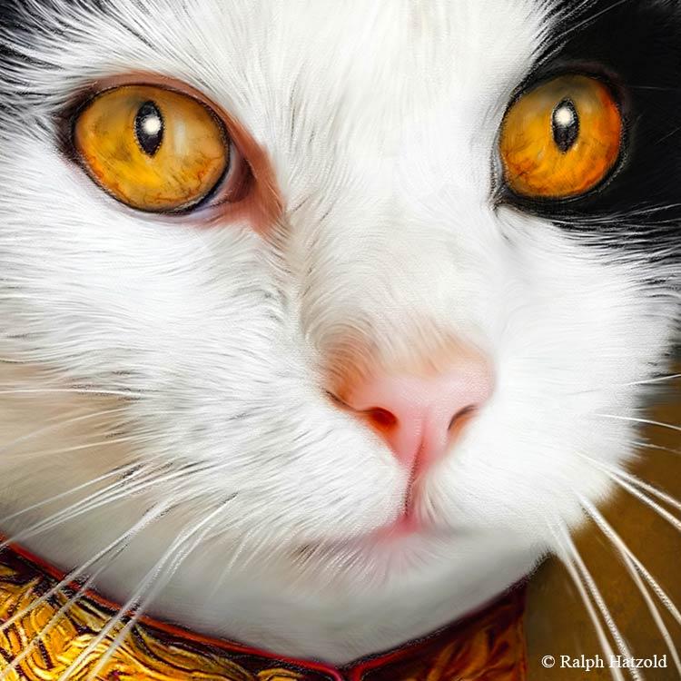 Katzenportrait, gelbe Augen, Katze in Uniform, Katzen in Kleidung, Barockrahmen, Geschenk für Katzenfreunde, Katze Gemälde Stil
