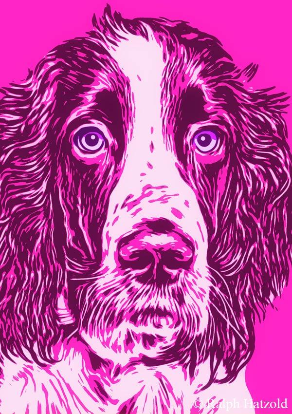 Pop Art Geschenke Andy Warhol Stil, Gemälde vom eigenen Foto, Hund George Cocker Spaniel Kunst vom eigenen Haustier