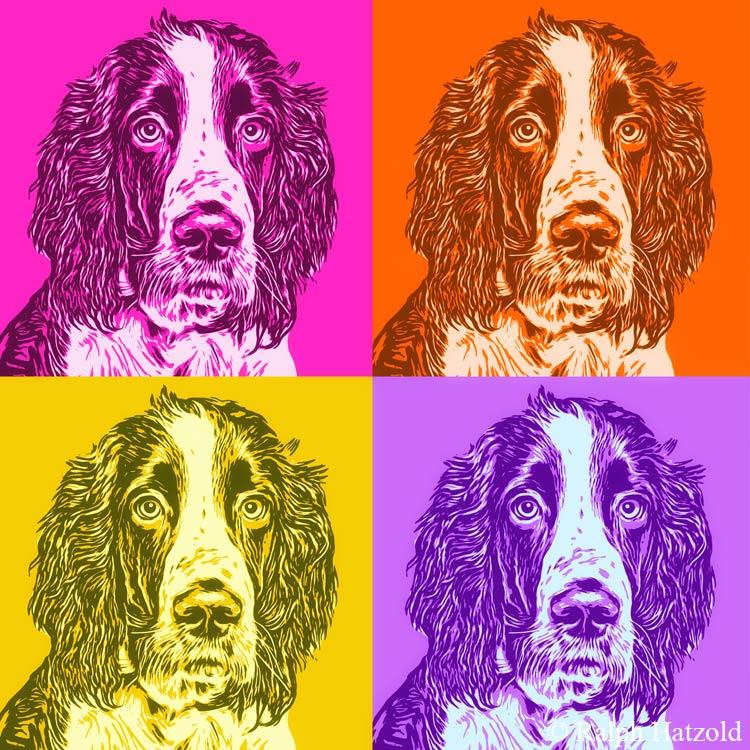 Foto Pop Art eigener Hund, Andy Warhol Stil, Gemälde vom eigenen Foto, Hund George Cocker Spaniel Kunst vom eigenen Haustier