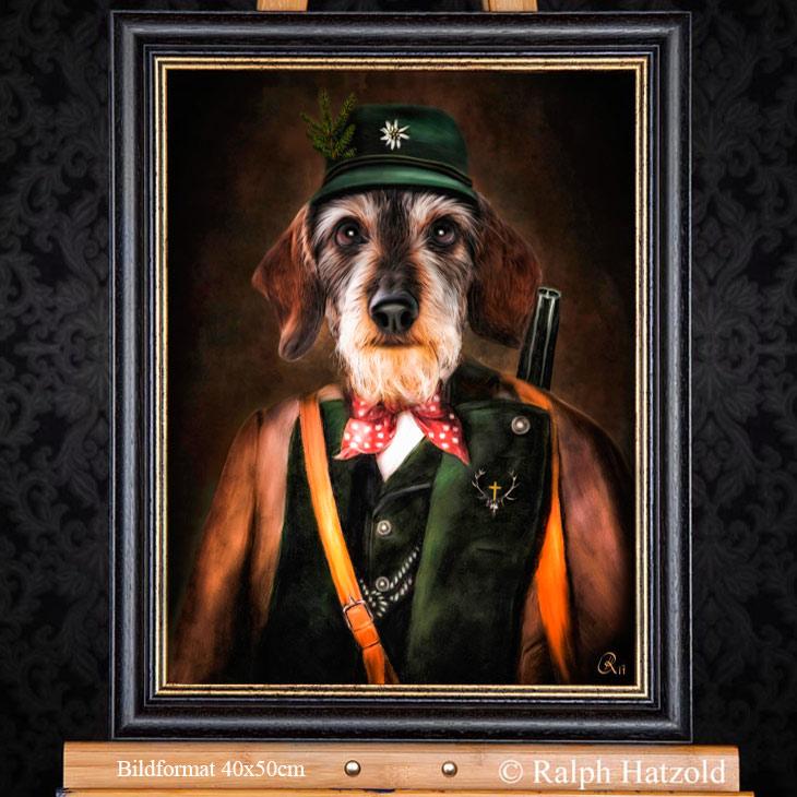Hundeportrait Dackel, Teckel, Dachshund als Jäger, Gemälde kaufen Bild Hund in Kleidung kaufen, Geschenk für Jäger