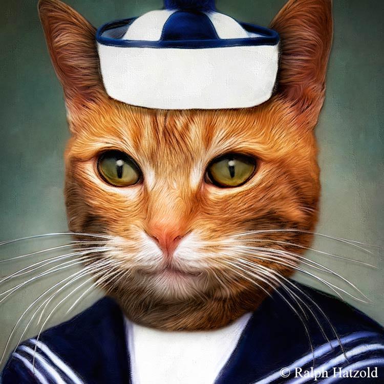 Katzenportrait Matrose Diego, Katze im Matrosenanzug, Katze in Kleidung, Barockrahmen, Geschenk für Katzenfreunde, Katze Gemälde individuelle Kunst