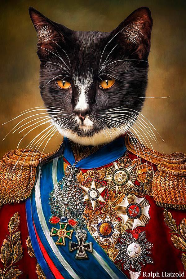 Katzenportrait Kater Nero, Geschenk für Katzenbesitzer, funny Cats in Uniform