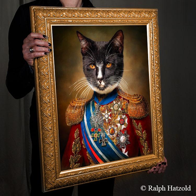 Gemälde Katze in Uniform, Bild kaufen, Künstleredition, limitierte Auflage