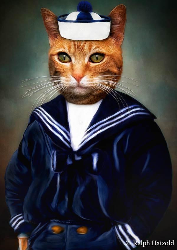 Katzenportrait Matrose Kater Diego, Katze im Matrosenanzug, Katze in Kleidung, Barockrahmen, Geschenk für Katzenfreunde, Katze Gemälde individuelle Kunst