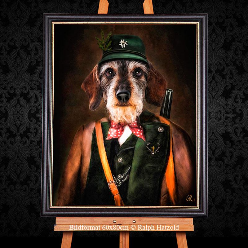 Jagdhundportrait Teckel, Dachshund, Dackel Gemälde als Jäger, Geschenke für Jäger, eigener Hund als Jäger, Bild kaufen