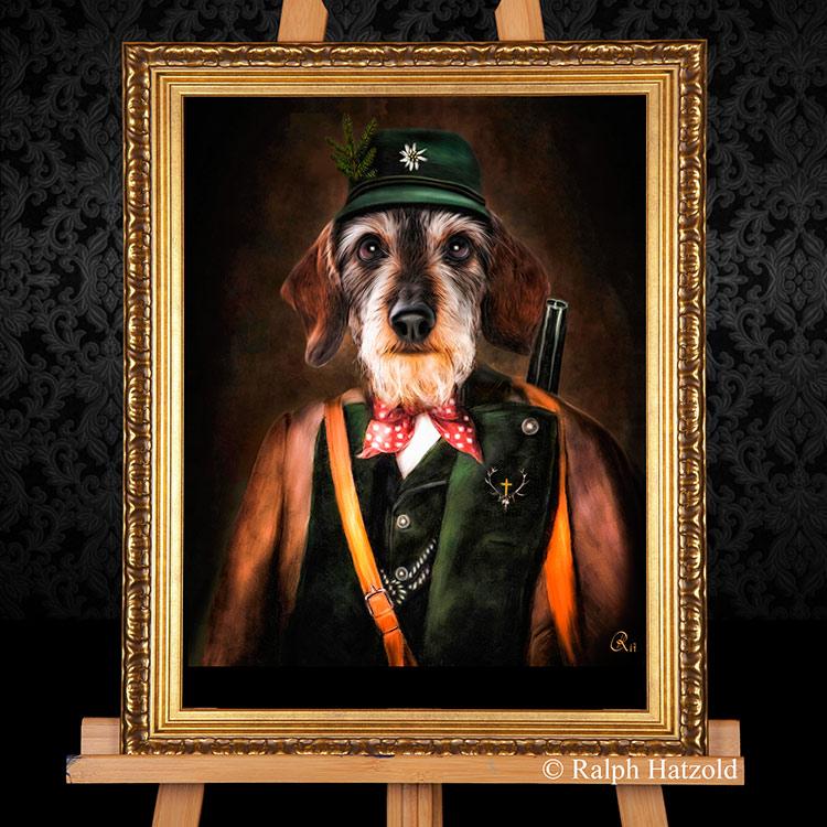 Rauhaardackel Hundeportrait in Jagdkleidung, Bild kaufen Geschenkidde Jäger
