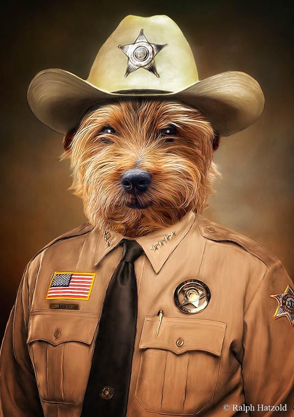 Hundeportrait Sheriff Anton in Polizeiuniform Gemälde in Kleidung eschenk Hunde individuelle Geschenke Ralph Hatzold