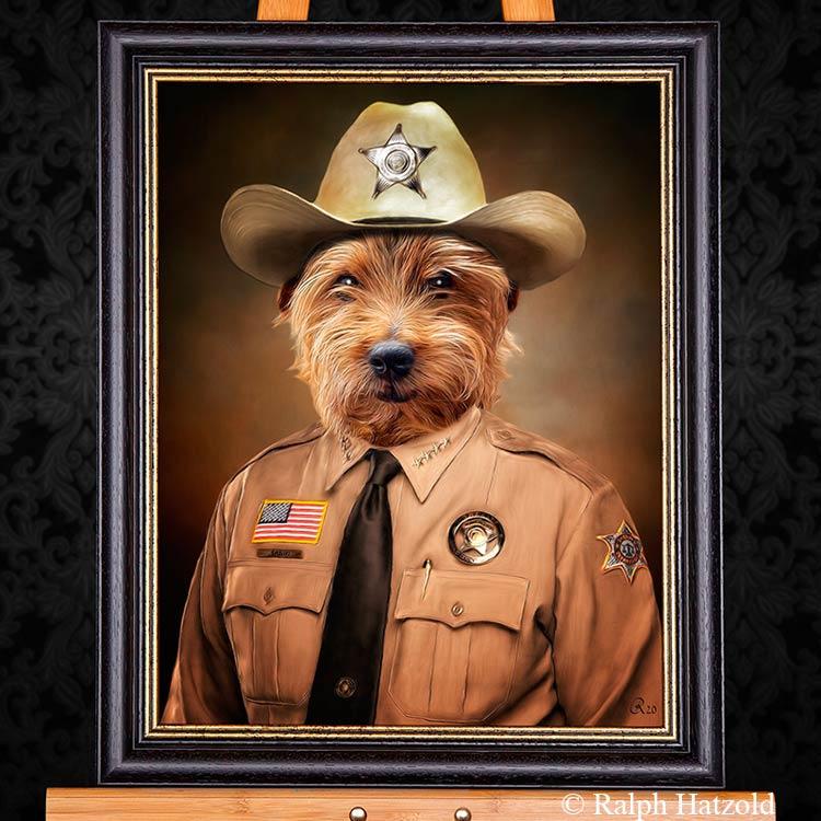 ralph-hatzold-hundeportrait-sheriff-in-kleidung-individuelle-polizist-gemaelde-geschenke-hunde-besitzer-funny-dogs
