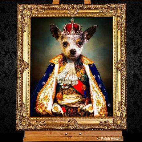 Chihuahua als König Hund in Kleidung individuelles Gemaelde Geschenkidee für Hundebesitzer